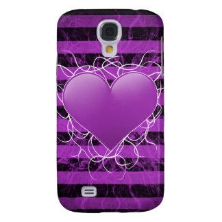 Corazón púrpura del emo punky gótico con las rayas funda para galaxy s4