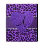 Corazón púrpura del leopardo del monograma