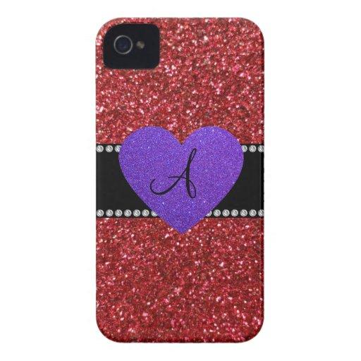 Corazón púrpura del monograma rojo del brillo iPhone 4 Case-Mate funda