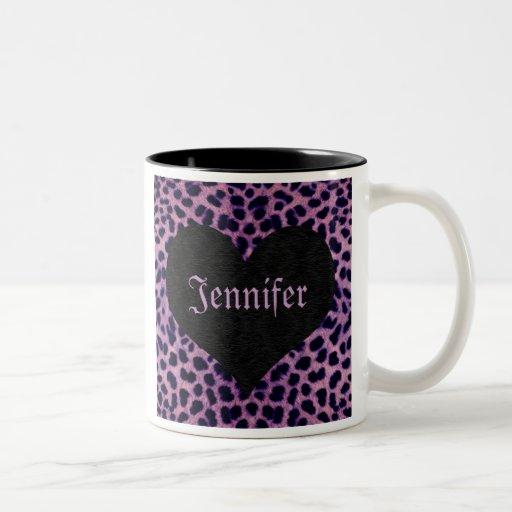 Corazón púrpura del negro de la impresión del guep taza