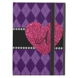 Corazón púrpura del rosa del argyle del monograma