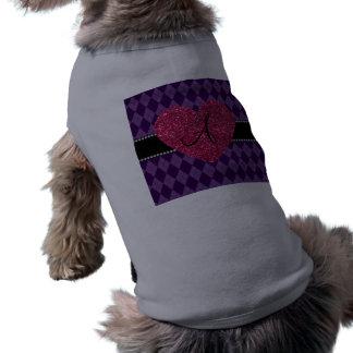 Corazón púrpura del rosa del argyle del monograma camiseta sin mangas para perro