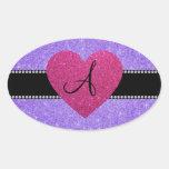 Corazón púrpura del rosa del brillo del monograma calcomania óval