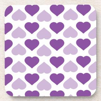 Corazón púrpura posavasos de bebidas