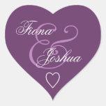 Corazón púrpura V13 del boda del sello del sobre Calcomanía De Corazón