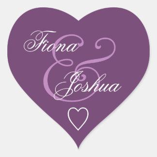 Corazón púrpura V13 del boda del sello del sobre Calcomania De Corazon Personalizadas