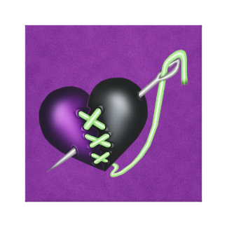 Corazón púrpura y negro del zombi retro de la impresión en tela