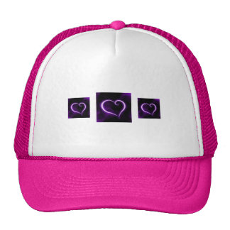 Corazón púrpura y rosado gorros
