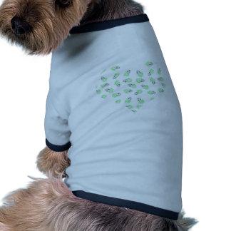 Corazón púrpura y verde del amor del watercolour camiseta con mangas para perro