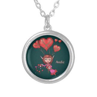 Corazón que asperja el duende de la tarjeta del dí collar personalizado