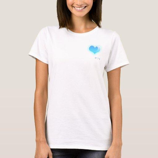 corazón que brilla intensamente azul playera