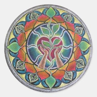 Corazón que consolida al pegatina de la mandala