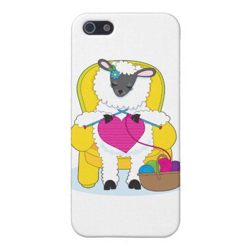 Corazón que hace punto de las ovejas iPhone 5 funda
