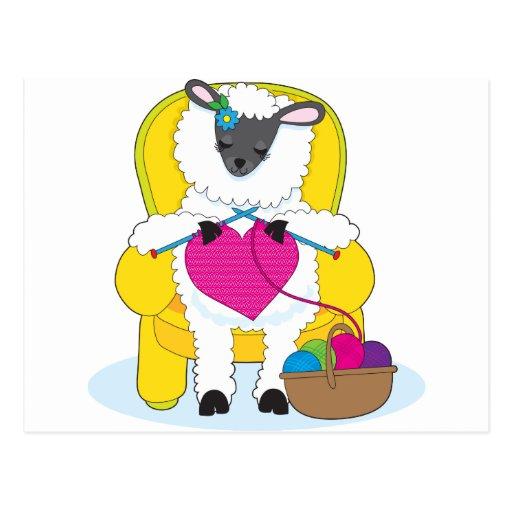 Corazón que hace punto de las ovejas tarjetas postales