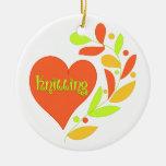 Corazón que hace punto ornaments para arbol de navidad