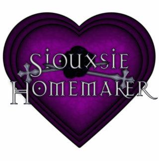 Corazón que hace punto púrpura del casero de Sioux Pin Fotoescultura