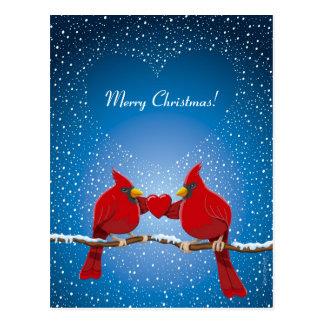 Corazón que nieva del pájaro cardinal rojo del nav