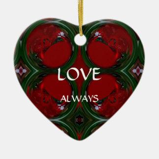 Corazón que remolina caleidoscópico Ornament.2 Adorno De Cerámica En Forma De Corazón