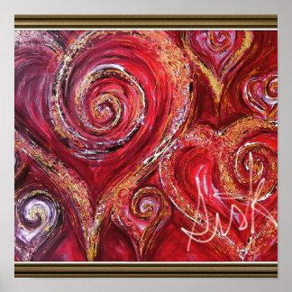 Corazón que remolina en el poster del artista V.