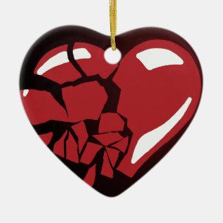 Corazón quebrado adorno navideño de cerámica en forma de corazón