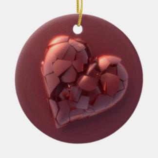 Corazón quebrado adorno navideño redondo de cerámica
