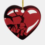 Corazón quebrado adornos de navidad
