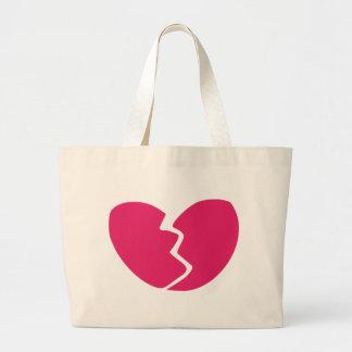 Corazón quebrado bolsas lienzo