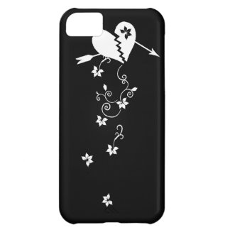 Corazón quebrado con el caso del iPhone 5 de las f