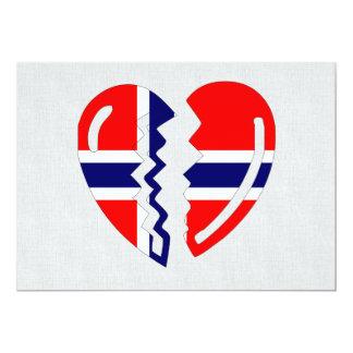 Corazón quebrado de Noruega Invitación Personalizada