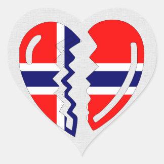 Corazón quebrado de Noruega Pegatinas Corazon