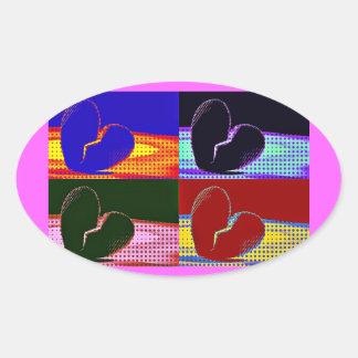 Corazón quebrado del arte pop pegatina oval