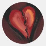 Corazón quebrado etiqueta redonda