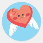 Corazón quebrado etiquetas redondas