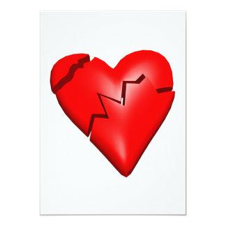 "Corazón quebrado invitación 5"" x 7"""