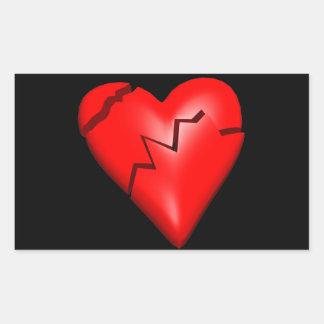 Corazón quebrado pegatina rectangular