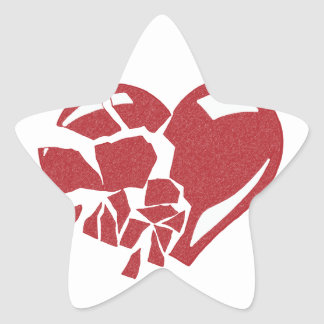 Corazón quebrado calcomania forma de estrella personalizadas