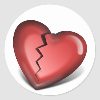 corazón quebrado pegatina redonda