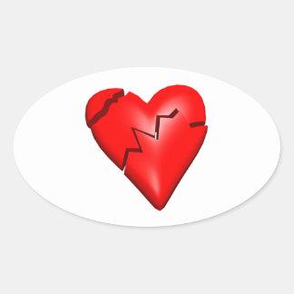 Corazón quebrado pegatina ovalada