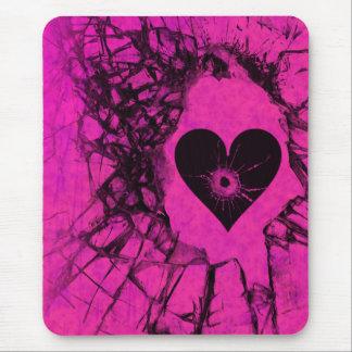 Corazón quebrado roto Mousepad gótico