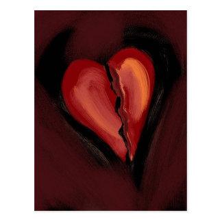Corazón quebrado tarjetas postales