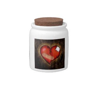 Corazón quebrado tarro del corazón-caramelo de la jarras para caramelos