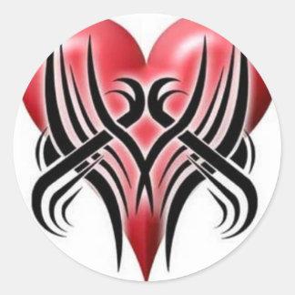Corazón quebrado tribal pegatina redonda