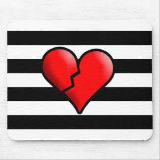 Corazón quebrado y rayas de Emo Tapetes De Raton