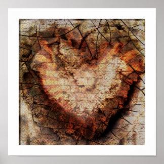 corazón quemado tridimensional en poster de la
