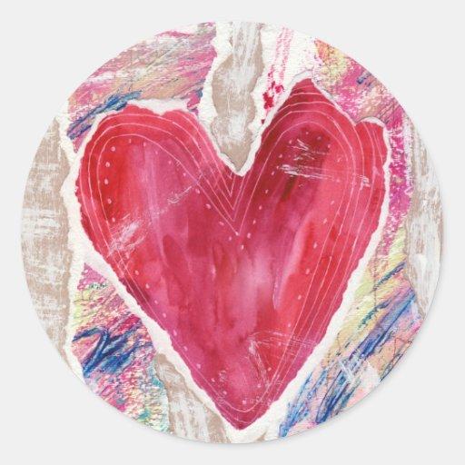 Corazón rasgado etiquetas