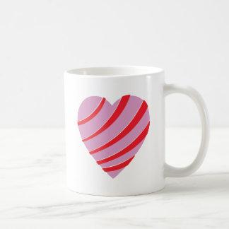 Corazón rayado del rosa, rojo y blanco tazas