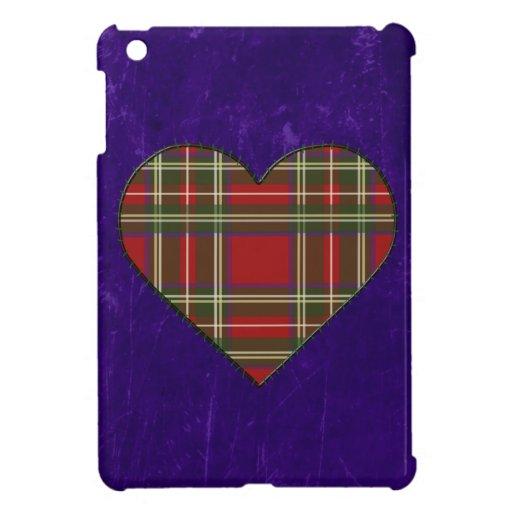 Corazón real cosido del tartán de Stewart iPad Mini Protectores