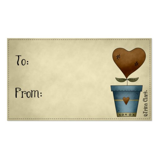 Corazón remilgado del país en etiquetas del regalo tarjetas de visita