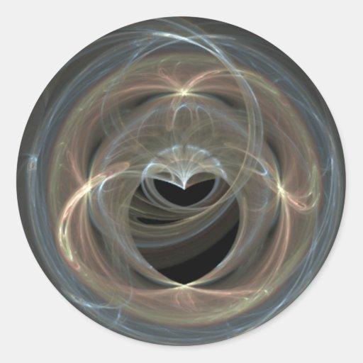 Corazón remolinado del arte del fractal pegatina redonda