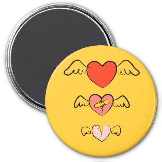 Corazón reparado imán redondo 7 cm